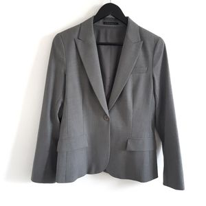 THEORY Wool Blend Grey Single Breasted Blazer Womens Business Casual Size 8
